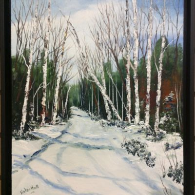 Snow Birches (Winter Road) (11x14) inches Original Oil