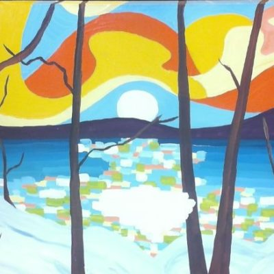 Winter's Sunset (24x36) inches